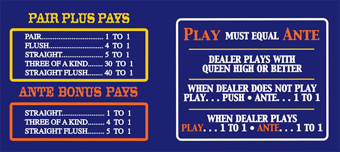casino payouts for 3 card poker
