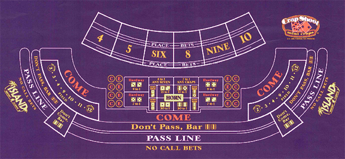 Craps Table Layout at Island Resort & Casino
