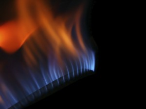 Gas fire isolated on black background