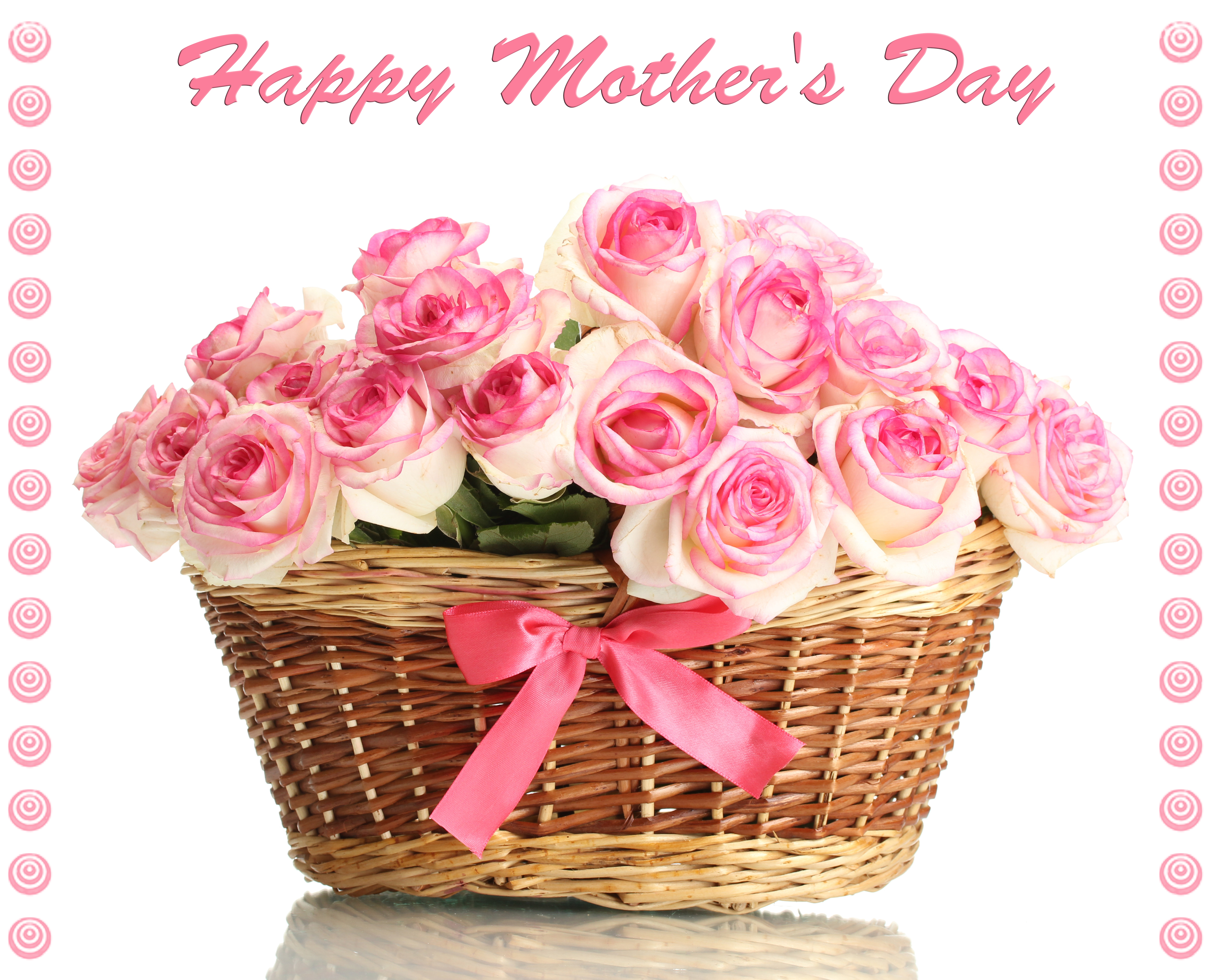 Beautiful Bouquet Of Pink Roses In Basket Isolated On White Win Mother S Day