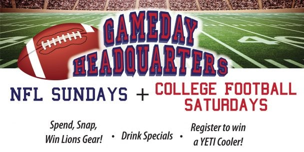 NFL Sundays & College Football Saturdays at T. McC's Sports Bar.