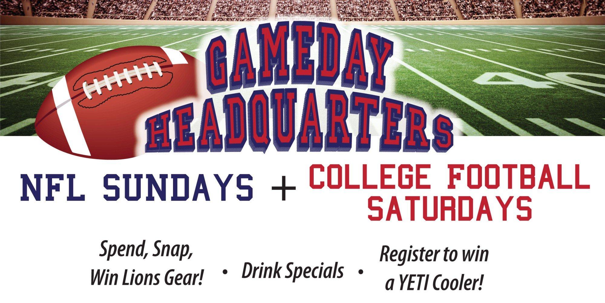NFL Sundays & College Football Saturdays at T. McC's Sports Bar.